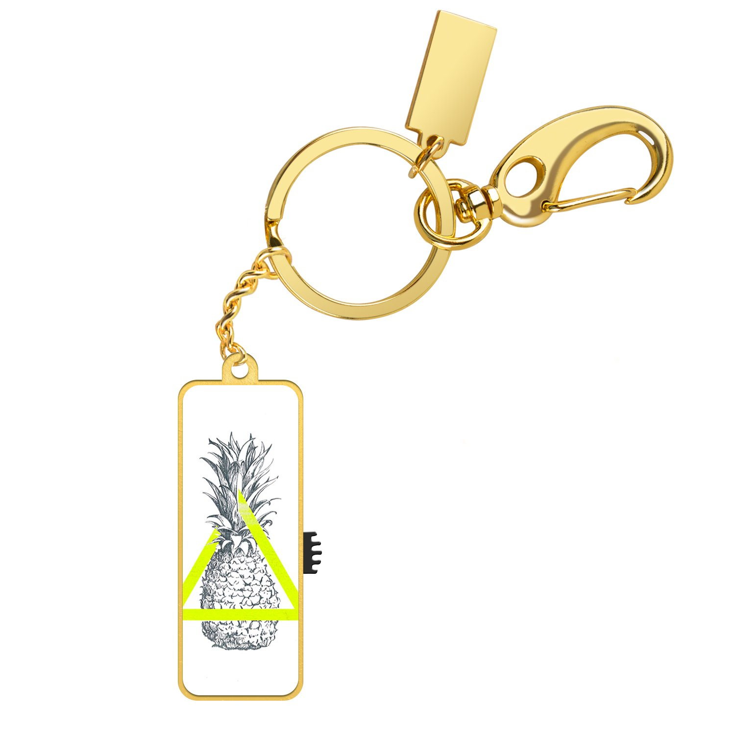 U Disk Flash Drive, 16GB Memory Stick Customized Thumb Drive with Key Chain Design,High Transfer Speed USB 2.0 Date Storage(Gold-Pineapple)