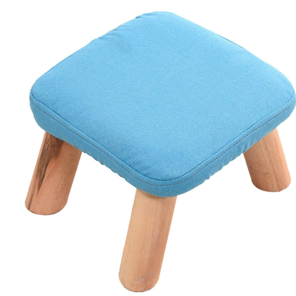 DHINGM Solid Wood Fashion Square Stool Fabric Sofa Stool, Household Coffee Table Stool Adult Low Stool, Using Wood and High-end Fabric, Beautiful, Stable and Durable (Color : Blue) by DHINGM