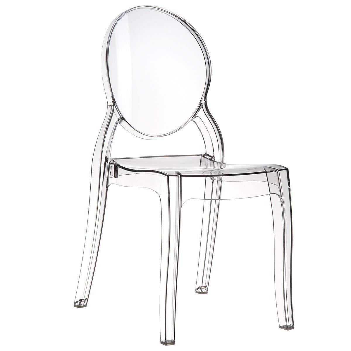 Bricok - Juego de 4 sillas de policarbonato transparente modernas y resistentes para casa, cocina, oficina, dormitorio, bar y hotel