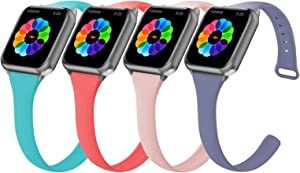 4 Pack Sport Band Compatible with Watch 38mm 40mm Band, Durable Silicone Watchband Replacement Strap Women Men for Watch Series SE/6/5/4/3/2/1 (Teal/Pink Sand/Coral/Lavender Gray, 38mm 40mm)