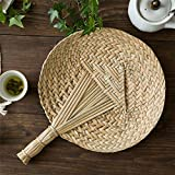 Product review for Cattail Palm Rush Leaf Hand Fan Handmade Retro Brown Round Summer Cos Accessory