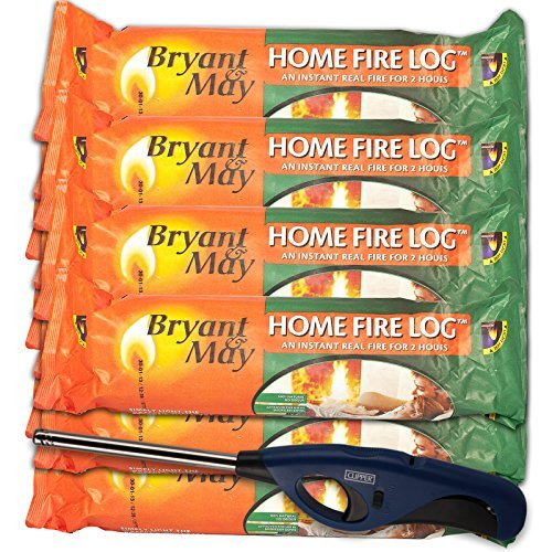 12 X Bryant & May Instant Lighting Smokeless Firelogs Approved by Holiday Parks. With Refillable Long Reach Tube Nose Clipper Lighter & Tigerbox Safety Matches Bryant&May