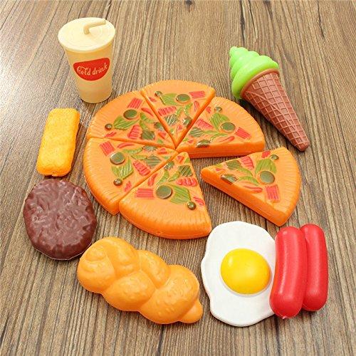 LaDicha 13Pcs Plastic Pizza Cola Ice Cream Cutting Play Setchildren Kids Vortäuschen Role Toy Gift