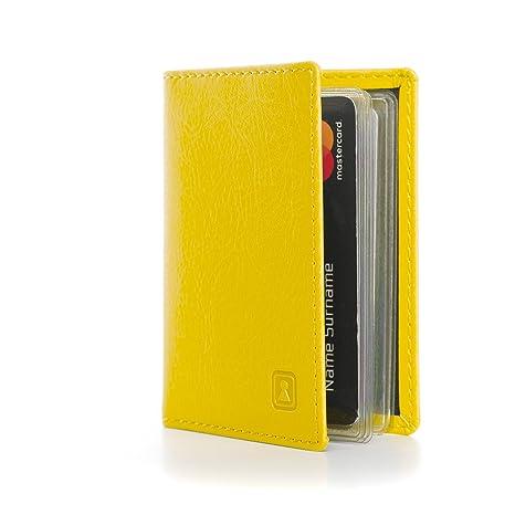 Carte Bancaire Jaune.Optexx W7012016 Rfid Etui Pour Cartes De Homme Femme Personal De Credit Carte D Identite Carte Bancaire Charly Jaune En Cuir Vegi Certifie Tuv Et