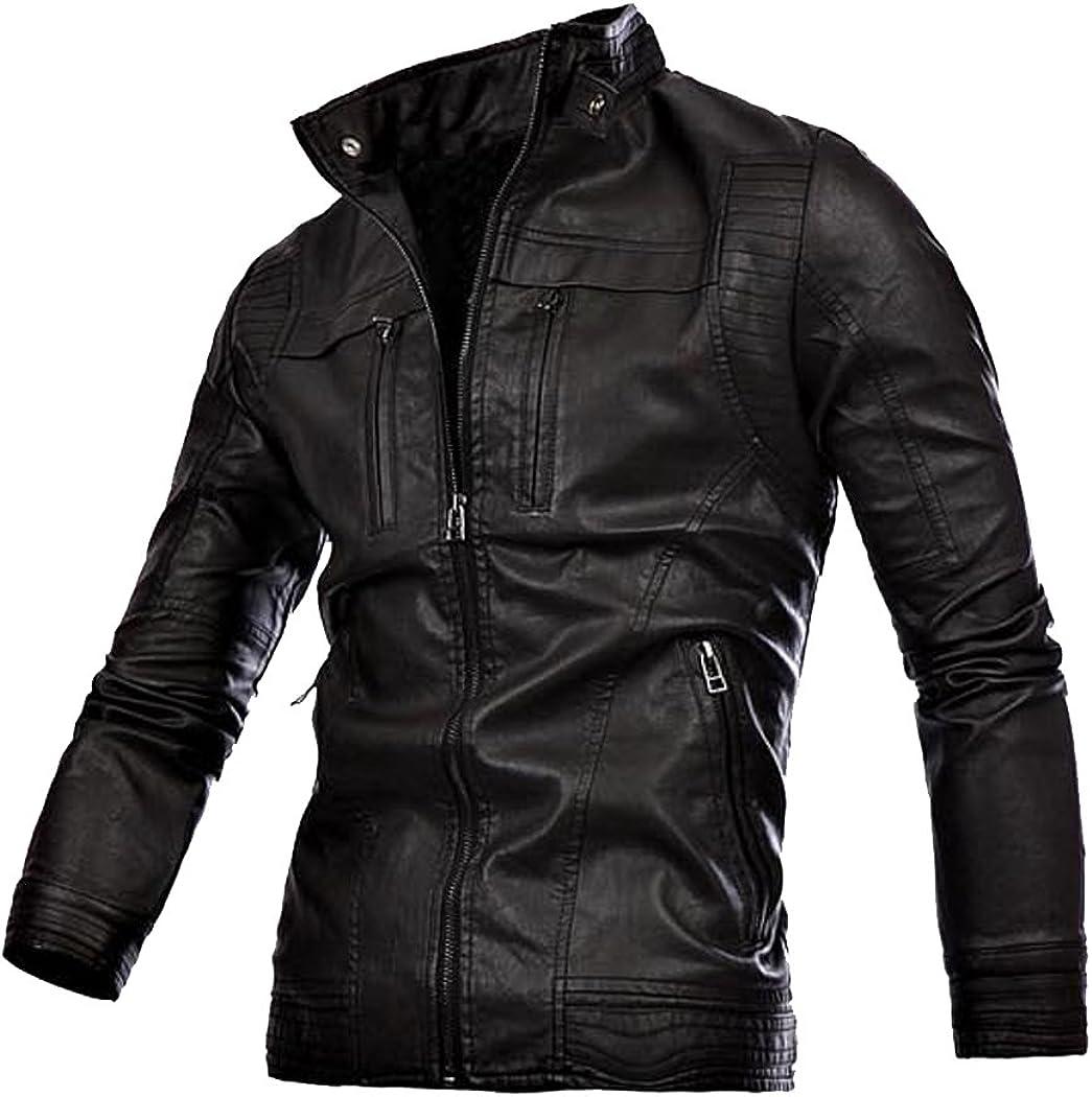 CatchyMarket Mens Vintage Stand Collar Zip Up Leather Jackets Black