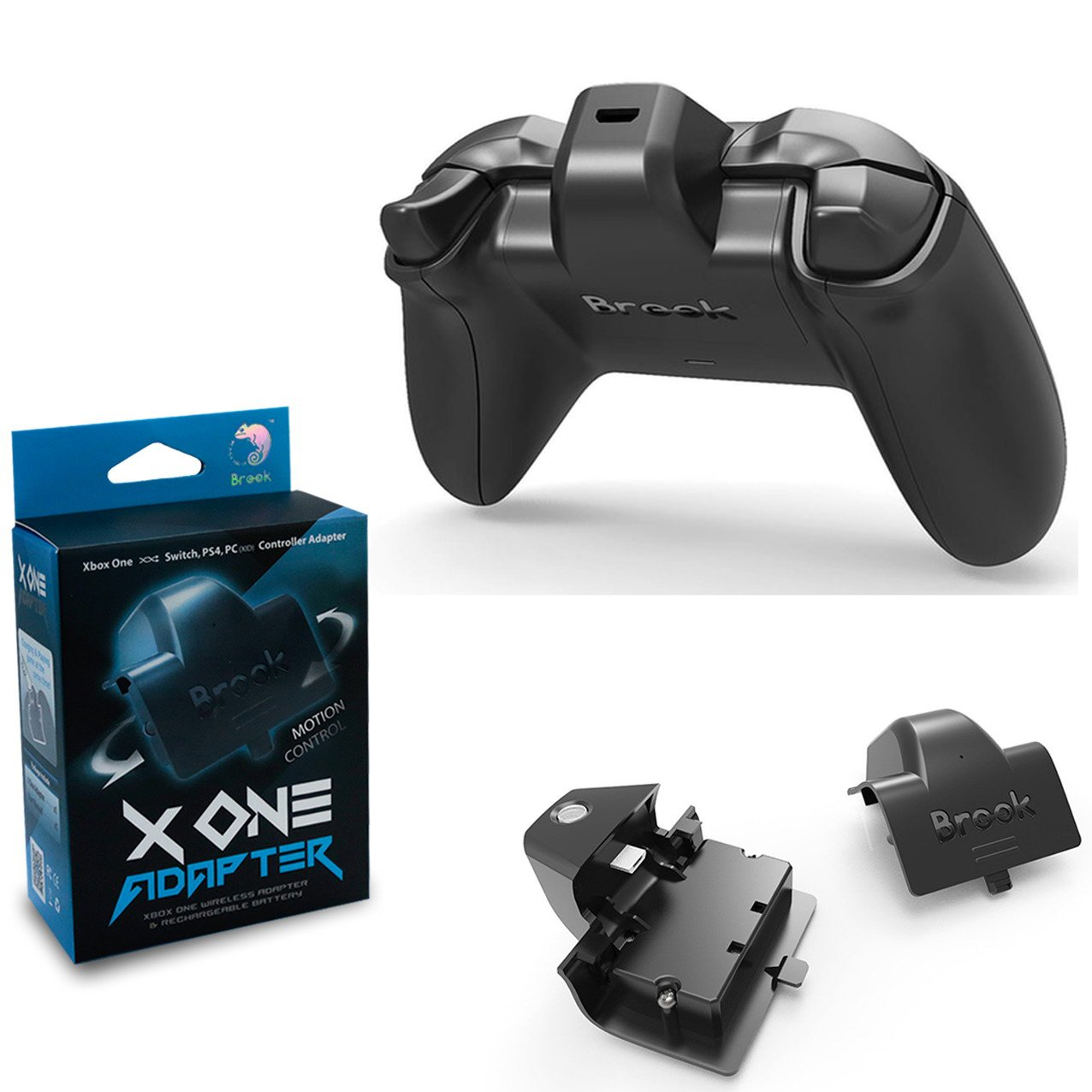 Brook X One Adapter Compatible for Xbox One Controller to PS4 Nintendo Switch Wireless Adapter & Rechargeable Battery Remap Turbo