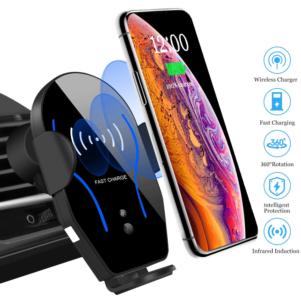 Car Phone Mount Cell Phone Holder Air Vent Mount for Car Wireless Charger Compatible with iPhone Xs Max/XS/XR/8 Plus Samsung Galaxy S10/S9/S8/S7 Edge/Note5 & Other Qi Smartphone