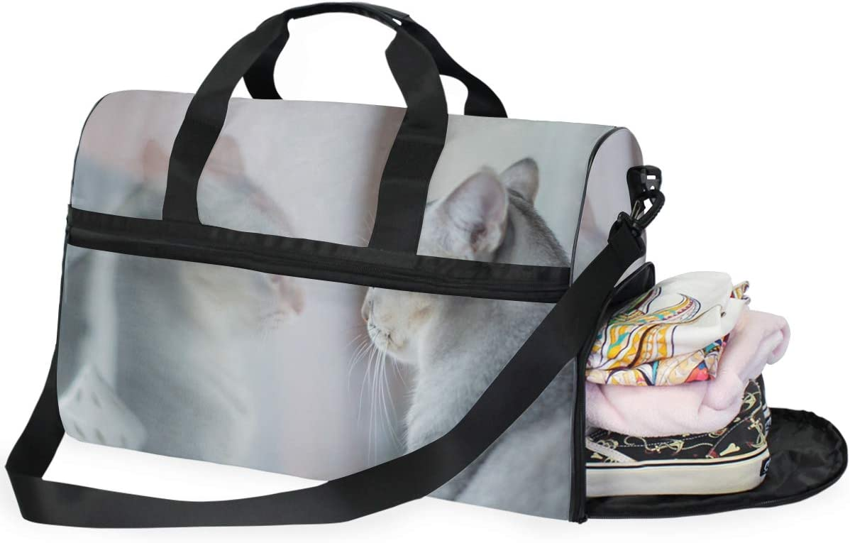 MUOOUM Cool Animal Cat Large Duffle Bags Sports Gym Bag with Shoes Compartment for Men and Women