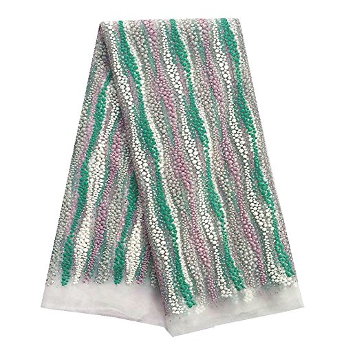 pqdaysun 5 Yards African Net Lace Fabrics Nigerian French Fabric Embroidered and Rhinestones Guipure Cord Lace F50350 (green) by pqdaysun