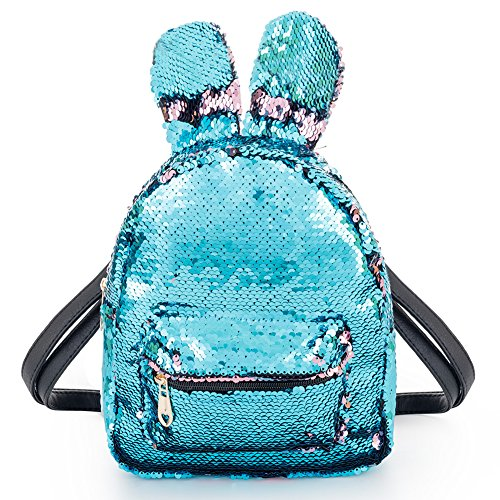 Magic Sequins Backpack with Cute Rabbit Ear Small Fashion Flip Sequin Shoulder Bag Schoolbag Daypack Knapsack for Travel Daily Beach Women Kids Girls Birthday Gifts, Reversible Blue to Pink -