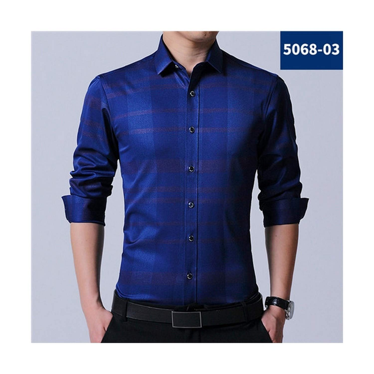 Zesoma Without Chest Pocket Fashion Casual Shirt Long Sleeve Turndown Collar