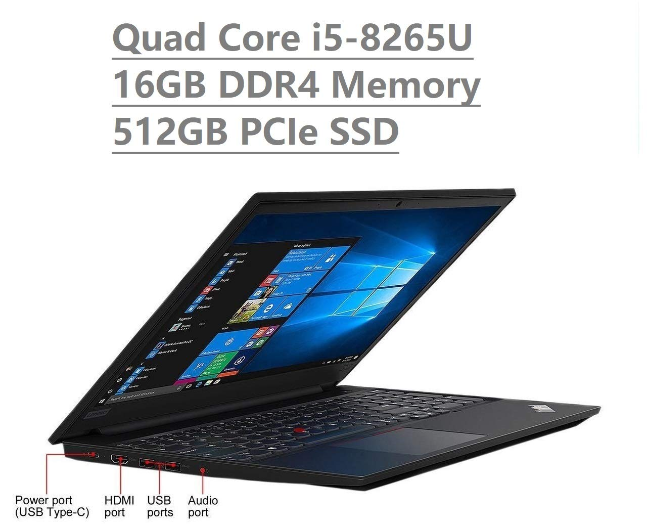2019 Lenovo Thinkpad E590 15.6'' HD Business Laptop (Intel Quad Core i5-8265U, 16GB DDR4 Memory, 512GB PCIe 3.0(x4) NVMe SSD M.2 SSD) Type-C, HDMI, Ethernet, Webcam, Windows 10 Pro w/ IST Accessories by Lenovo