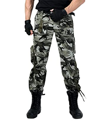 148131302b73f2 EKLENTSON Mens Camo Pants Zipper Pockets Hunting Tactical Combat Pants  Woodland Loose Fit