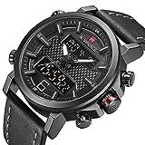 digital analog - Men Dual Display Watches Analog Digital Casual Sport Luxury Chronograph Waterproof Wristwatch