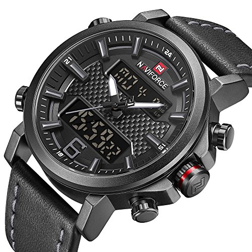 Dual Time Date Watch - Men Dual Display Watches Analog Digital Casual Sport Luxury Chronograph Waterproof Wristwatch