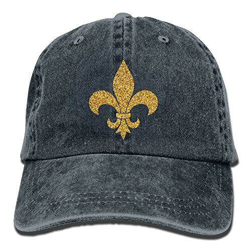 Mardi Gras Glitter Fleur De Lis Gold Classic Unisex Baseball Cap Adjustable Washed Dyed Cotton Ball Hat Navy