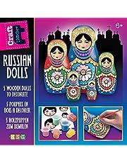 Mamut 8171509 Crafts knutselset, glitter matroschka, complete set met 5 matroesjka's van hout, 6 acrylverf, lak en andere accessoires, voor kinderen vanaf 6 jaar