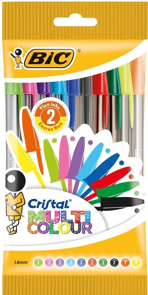 BIC Cristal Multicolour bolígrafos Punta Ancha (1,6 mm) – colores Surtidos, Blíster de 10 unidades product image