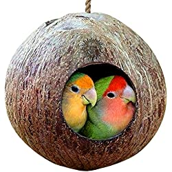 Natural Coconut Shell Bird House - Nesting Bird House for cage or Outside - Finch, Parakeet, Sparrows' - Natural Texture Encourages Foot and Beak Exercise - Includes Hanging Loop
