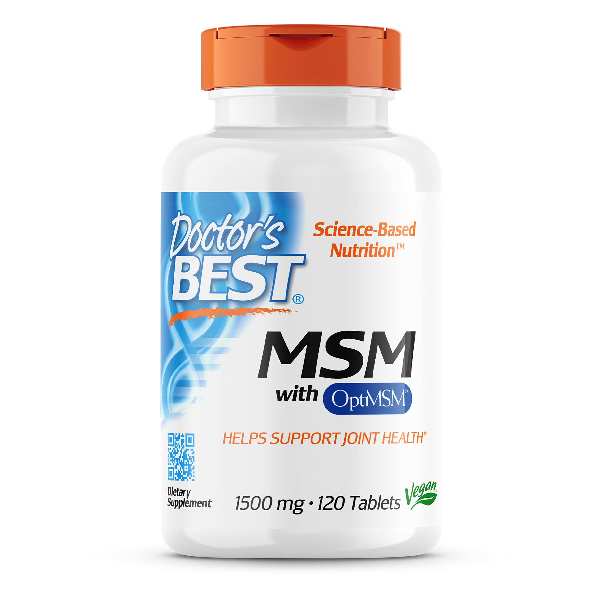 Doctor's Best MSM with OptiMSM, Non-GMO, Gluten Free, Joint Support, 1500 mg, 120 Tablets (DRB-00097)