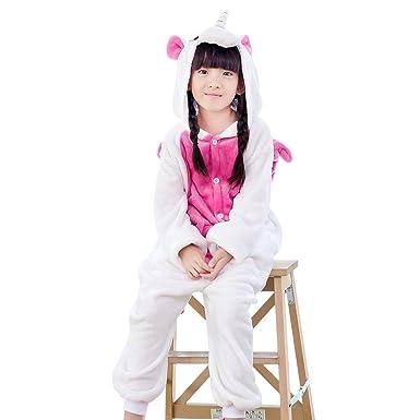 e7357321440ea TAGVO Enfant Pyjamas Animal en Flanelle Ensemble Hiver Grenouillère Garçons  Filles Cosplay Déguisement Combinaison Vêtements De