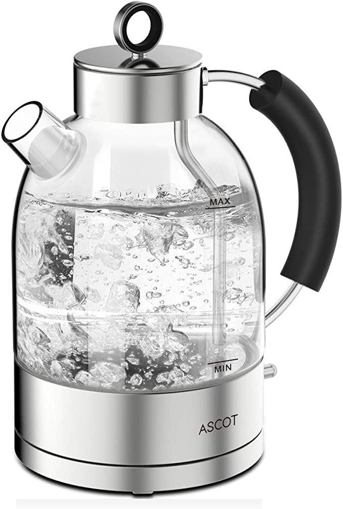 ASCOT Glass Kettle Electric -1.7L Eco Water Tea Kettle Quiet Fast Boiling with BPA Free Auto Shut-Off & Boil-Dry Protection, 3000W