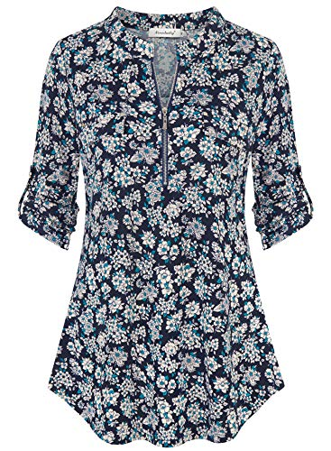 (Ninedaily Women's 3/4 Sleeve Roll up Shirts Zip Floral Casual Tunic Blouse Tops,Navy Size L)