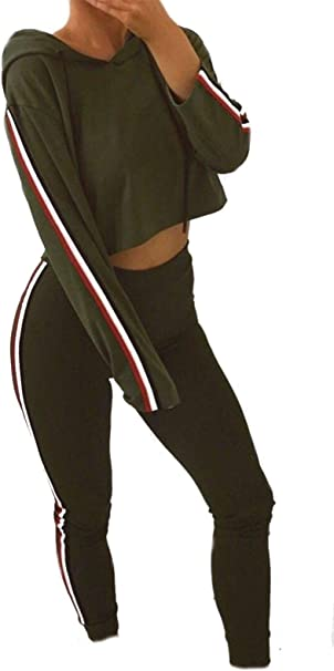 Womens Ladies Side Stripe Hooded Crop Top Joggers Loungewear Tracksuit UK 8-14