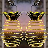KAZOKU Waterproof 2-Pack Pineapple Solar Lights,20 LED Fairy String Light for Garden Patio Path Home Décor Tree Jar Lantern Lighting Warm White