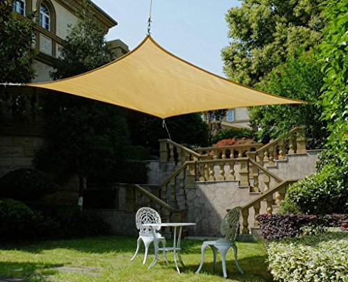 Cool Area Square 11 Feet 5 Inches Sun Shade Sail with Stainless Steel Hardware Kit, UV Block Fabric Patio Shade Sail in Color Sand