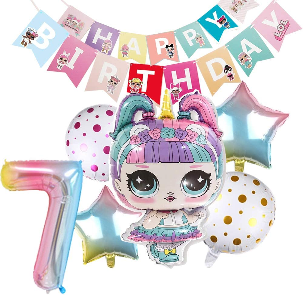 Party's Balloons for Chrildren Surprise Birthday Balloon Bouquet Decorations Surprise Doll Banner Chirldren's Party for LOL …