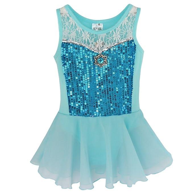 fc8bb76ee20d Amazon.com  iEFiEL Girls Sequin Chiffon Ballet Dance Dress Gymnastic ...