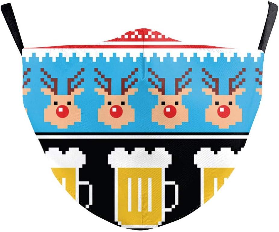Eboutik Weihnachtliche Hässliche Pullover Designs Stoff Gesichtsmasken Mit Filterschlitz Wiederverwendbare Waschbare Und Atmungsaktive Gesichtsbedeckungen Rentier Bier Auto