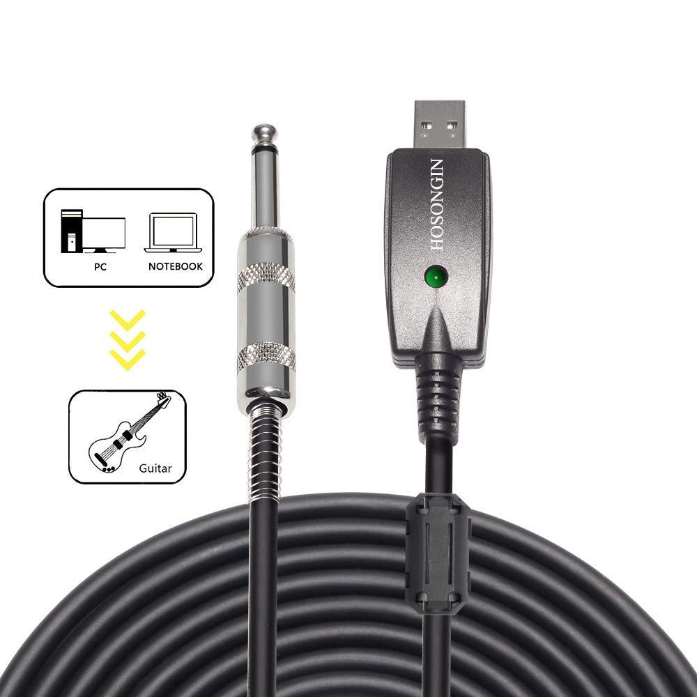 HOSONGIN USB Guitar Cable - USB Interface Male to 6.35mm 1/4'' TS Mono Electric Guitar Converter Cable (10 Ft, Black)