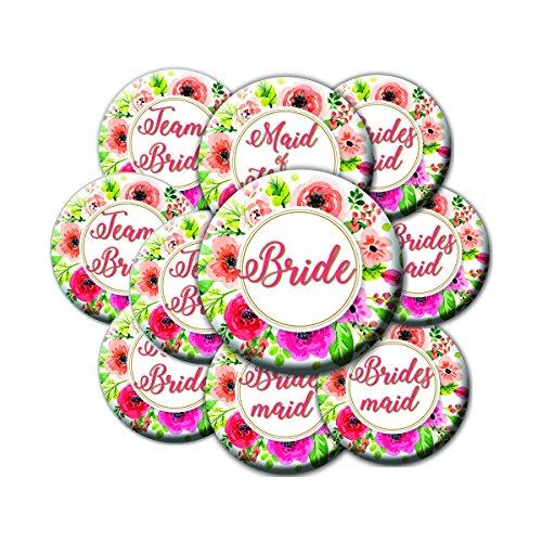 16 Floral Wreath Bridal Party Button Set - Team Bride Buttons - Bride Button - Bachelorette Party Buttons - Bridal Party Buttons