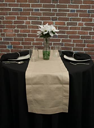 Something Different Linen Stone Hemstitch Table Runner, 12 By 72 Inch