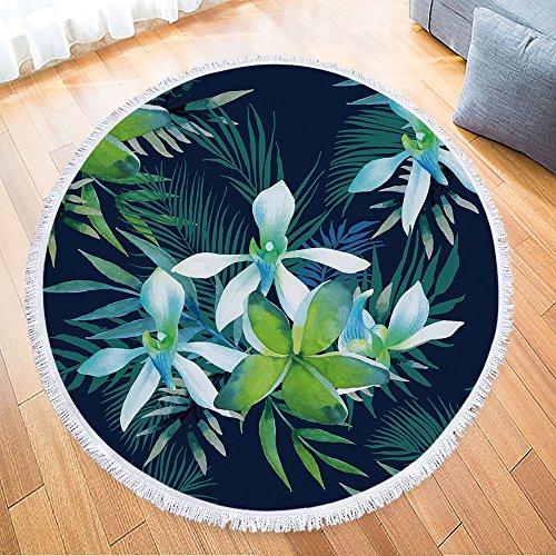 IcosaMro Round Beach Towel Tropical Microfiber Beach Blanket Flowers Floral Palm Leaves Large Roundie Lightweight Beach Towel for Kids Women Men Boy Girl,59x59, Green