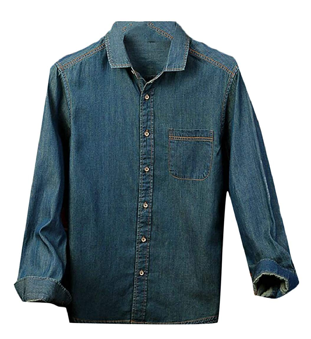HTOOHTOOH Mens Washed Long Sleeve Button Down Slim Fit Cotton Denim Jeans Shirt