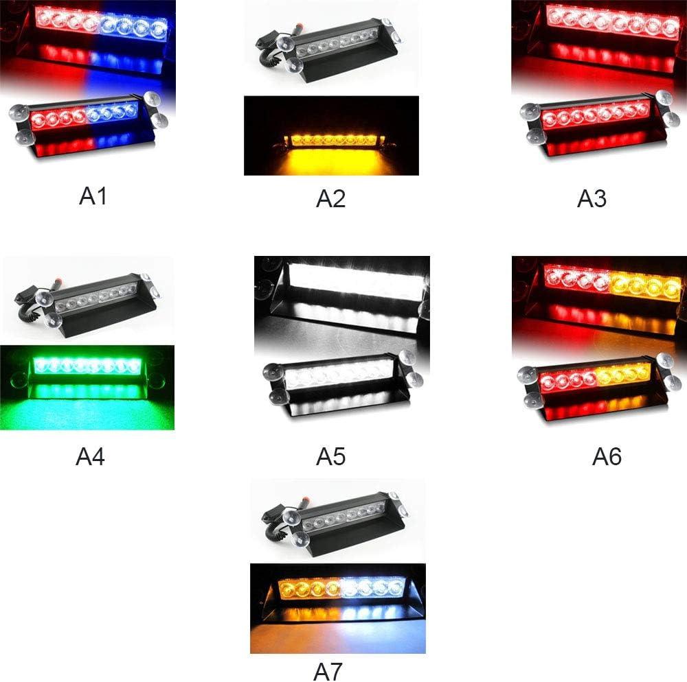 Xueliee Xueliee DC12V 8 LED Car Police Strobe Flash Light Auto LED Emergency Warning Lamp 3 Modes Fog Lights