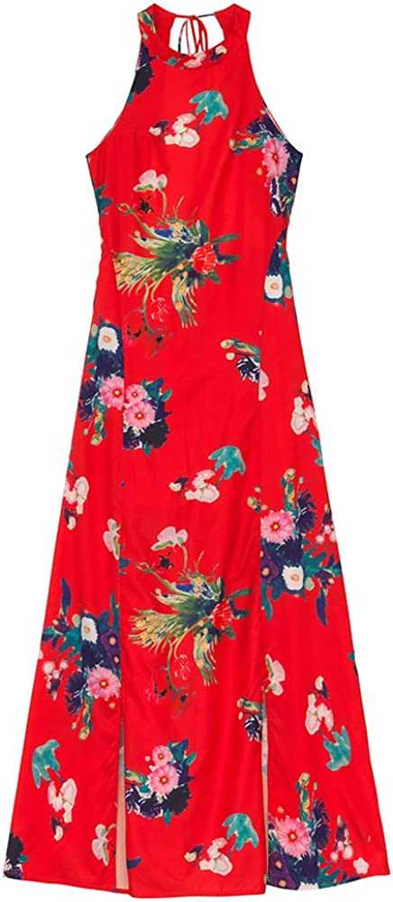 Molly Bracken - Vestido largo estampado rojo XL: Amazon.es: Ropa y ...