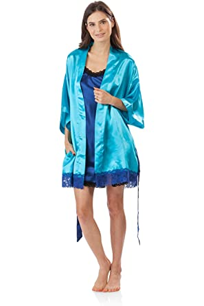 92d76c7dfd Ashford   Brooks Women s 2 Piece Satin Robe and Nightie Set - Aqua Royal  Blue