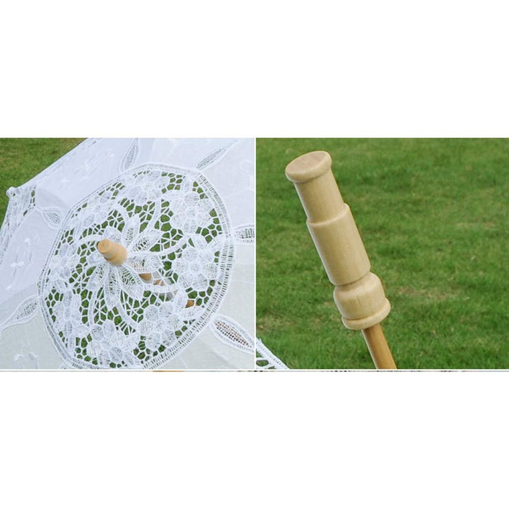 ChYoung White Wedding Lace Parasol Umbrella Embroidery Pure Cotton Lace Umbrella for Wedding Gift Photo Props Kids Gift by ChYoung (Image #6)