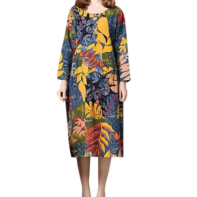 85fd6b1ca5 Quelife Dress for Women Flowers Long Sleeve Pocket Cotton Linen Loose Bohe  Casual Dress(Blue