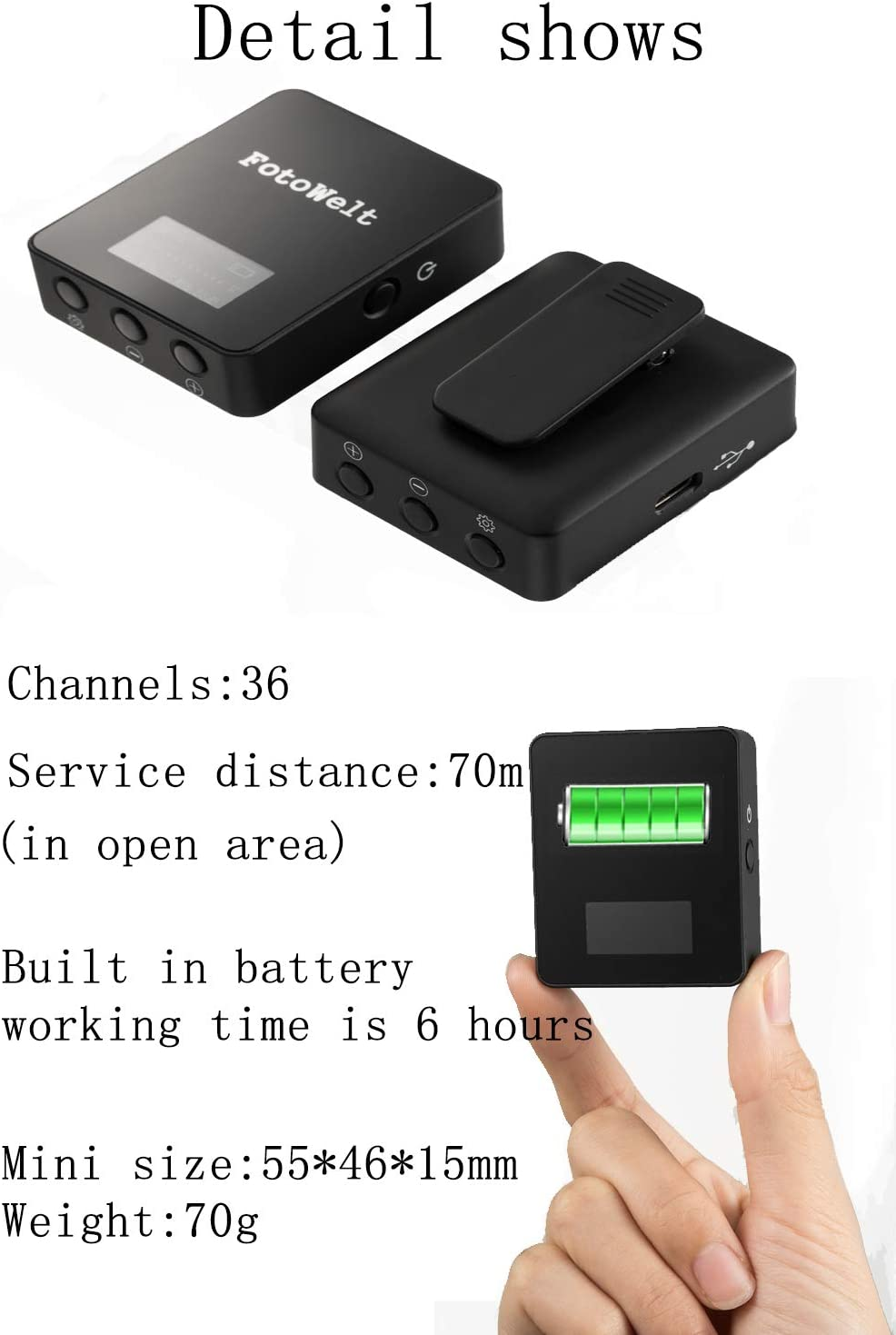 Fotowelt AIR 36 Channels UHF Wireless Lavalier Microphone System Built in Battery Wireless Mics Compatible for Canon Nikon Sony Panasonic D//SLR Camera,XLR Camcorder /& Smartphone 70m-229foot