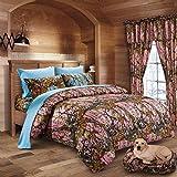 20 Lakes Woodland Hunter Camo Comforter, Sheet, Pillowcase Set (Cal King - Pink/Powder Blue)