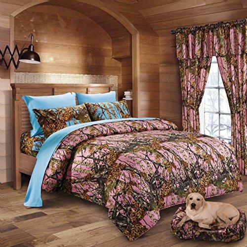 20 Lakes Woodland Hunter Camo Comforter, Sheet, & Pillowcase Set (Queen - Pink / Powder Blue)