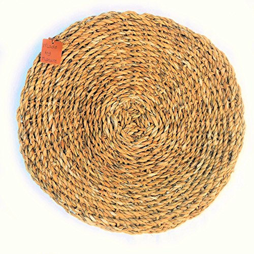WHW Whole House Worlds Made by Nature Round Woven Seagrass Placemats, Set of 2, Chunky Weave, 15 3/4 Inches Diameter, Sustainably Harvested Natural Sea Grass