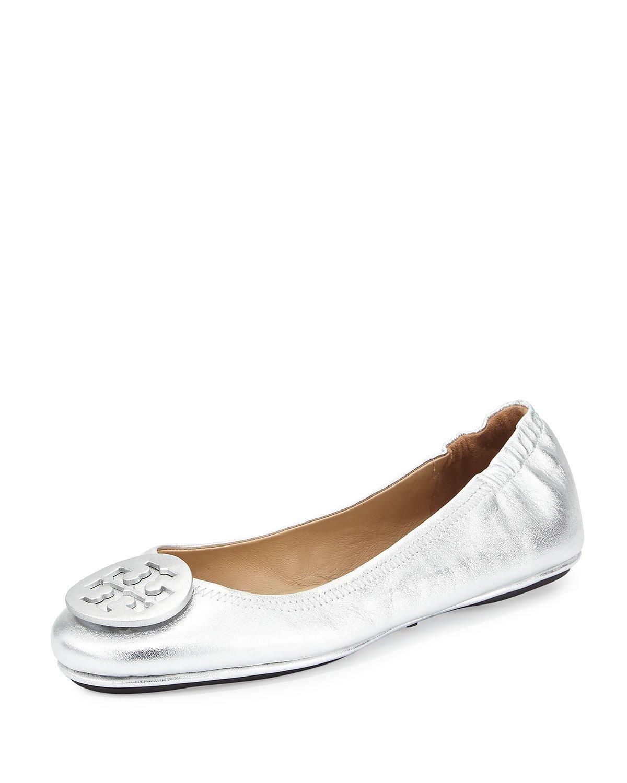 Tory Burch Minnie Travel Ballet Ballerina Flat Silver Size 8.5