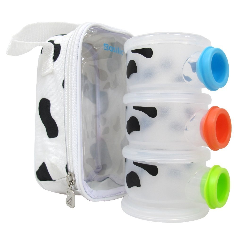 Basilic Baby Formula Milk Powder Dispenser, Funnel Shape - 3 Compartment (Cow Pattern)