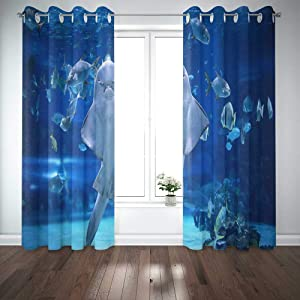 EMMTEEY Angel Shark in Aquarium You Can See as Stand S Stomach 52X63 Window Curtain Panels Kids Boys Girls 2 Panel Sets for Living Room Bedroom Décor